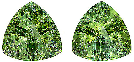 Brilliant Natural Unheated Green Tourmaline Matched Pair from Afghanistan for SALE! Trillion Cut, 5.33 carats