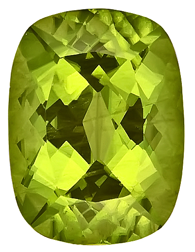 Brilliant Natural Unheated Peridot Gemstone from Pakistan, Antique Cushion Cut, 13.4 x 10 mm, 7.56 carats