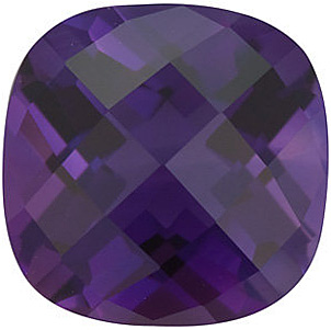Genuine Gemstone  Amethyst Gem, Chekerboard Antique Square Shape, Grade AAA, 7.00 mm Size, 1.45 carats