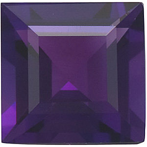 Loose Natural  Amethyst Gem, Square Step Shape, Grade AAA, 6.00 mm Size, 1.08 carats