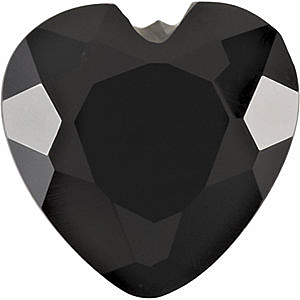 Natural  Black Onyx Gem, Heart Shape Faceted, Grade AA, 4.00 mm in Size