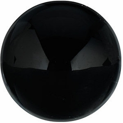 Faceted Loose  Black Onyx Gem, Round Shape Cabochon, Grade AA, 16.00 mm in Size