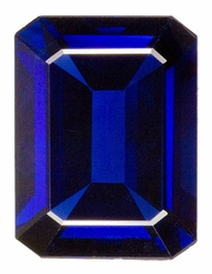 Loose Natural  Blue Sapphire Gem, Emerald Shape, Grade AA, 7.00 x 5.00 mm in Size, 1.2 Carats