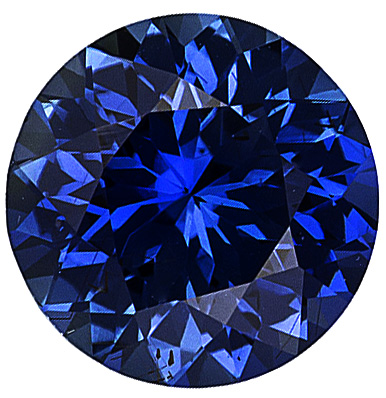 Loose  Blue Sapphire Gem Stone, Round Shape, Diamond Cut, Grade AAA, 5.50 mm in Size, 0.8 Carats