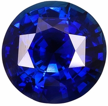 Loose Gem  Blue Sapphire Gem Stone, Round Shape, Grade AA, 6.50 mm in Size, 1.5 Carats