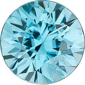 Gemstone  Blue Zircon Gem, Round Shape, Grade AA, 6.00 mm in Size,  1.2 Carats