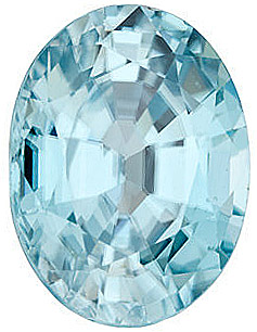 Loose Gem  Blue Zircon Gemstone, Oval Shape, Grade AA, 9.00 x 7.00 mm in Size,  3 Carats