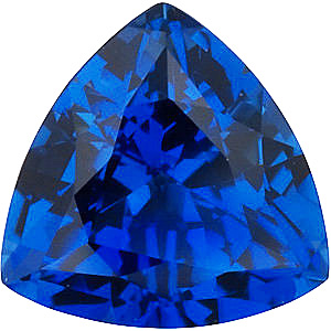 Chatham Created Blue Sapphire Gemstone, Trillion Shape, Grade GEM, 7.00 mm in Size, 1.55 Carats