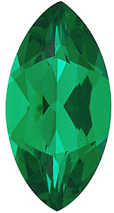 Chatham Created Emerald Gemstone, Marquise Shape, Grade GEM, 5.00 x 3.00 mm in Size, 0.18 Carats