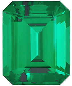 Chatham Created Emerald Stone, Emerald Shape, Grade GEM, 7.50 x 5.50 mm in Size, 1.2 Carats