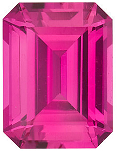 Chatham Created Pink Sapphire Gemstone, Emerald Shape, Grade GEM, 8.00 x 6.00 mm in Size, 2.15 Carats