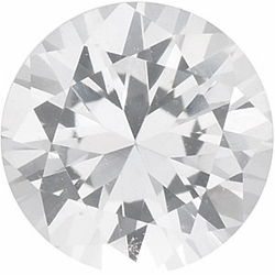 Chatham Created White Sapphire Gem, Round Shape, Grade GEM, 2.50 mm in Size, 0.09 Carats