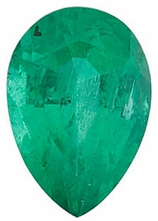 Faceted   Emerald Gem, Pear Shape, Grade A, 8.00 x 5.00 mm in Size, 0.8 Carats