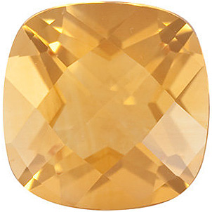 Faceted Loose  Golden Citrine Gem, Antique Square Shape Checkerboard, Grade A, 6.00 mm in Size, 0.85 carats