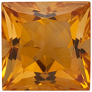 Natural Loose  Golden Citrine Gemstone, Princess Shape, Grade A, 5.50 mm in Size, 0.82 carats