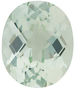 Faceted Loose  Green Quartz Gem, Oval Shape Checkerboard, Grade AA, 10.00 x 8.00 mm in Size, 2.6 Carats