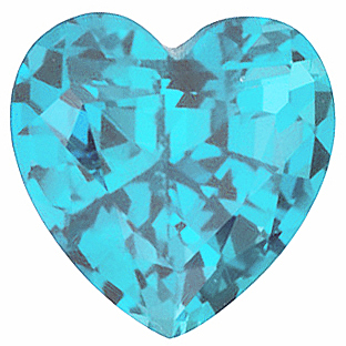 Imitation Blue Zircon Gemstone, Heart Shape, 6.00 mm in Size