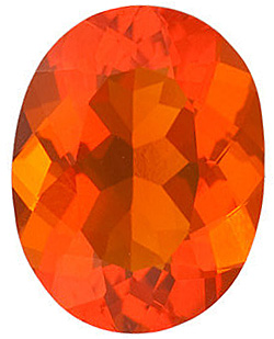Natural Loose  Mexican Fire Opal Stone, Oval Shape, Grade AA, 8.00 x 6.00 mm in Size, 0.85 carats