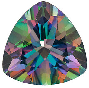 Faceted Loose  Mystic Green Topaz Gem, Trillion Shape, Grade AAA, 9.00 mm in Size, 3.5 Carats
