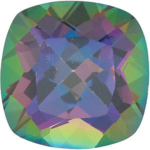 Genuine Gemstone  Mystic Green Topaz Stone, Antique Square Shape, Grade AAA, 8.00 mm in Size, 2.85 Carats
