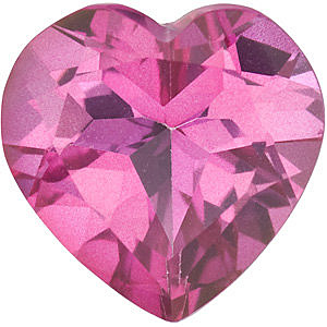 Loose Faceted  Mystic Pink Topaz Stone, Heart Shape, Grade AAA, 8.00 mm in Size, 2.35 Carats