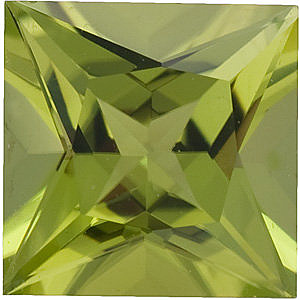 Loose  Peridot Gem, Princess Shape, Grade AAA, 4.00 mm in Size, 0.4 Carats