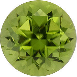 Faceted Loose  Peridot Gem, Round Shape, Enlightened Apple, Grade AA, 4.00 mm in Size, 0.29 Carats