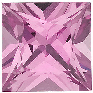 Faceted Loose  Pink Sapphire Stone, Princess Shape, Grade A, 3.75 mm in Size, 0.38 Carats