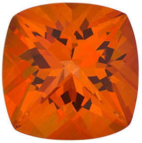 Loose Natural  Poppy Passion Topaz Gem, Antique Square Shape, Grade AAA, 8.00 mm in Size