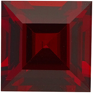 Gemstone Loose  Red Garnet Gemstone, Square Shape Step, Grade AAA, 6.00 mm in Size, 1.35 carats