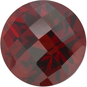 Genuine  Red Garnet Stone, Round Shape Checkerboard, Grade AAA, 7.00 mm in Size, 1.75 carats