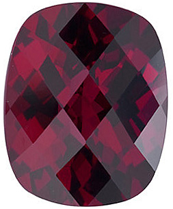 Genuine Gemstone  Rhodolite Garnet Stone, Antique Cushion Shape, Checkerboard, Grade AAA, 9.00 x 7.00 mm in Size, 2.6 carats