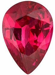 Loose Genuine Gem  Ruby Gemstone, Pear Shape, Grade AA, 6.00 x 4.00 mm in Size, 0.52 Carats