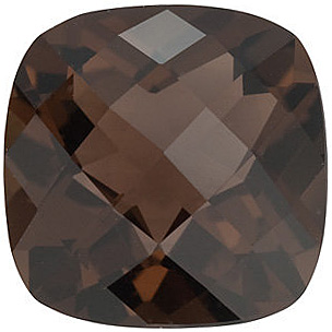 Loose Genuine Gem  Smokey Quartz Gemstone, Antique Square Shape Checkerboard, Grade AAA, 8.00 mm in Size, 2.25 Carats