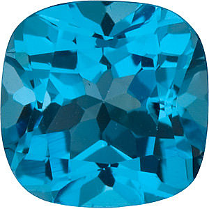 Faceted   Swiss Blue Topaz Gemstone, Antique Square Shape, Grade AAA, 6.00 mm in Size, 1.25 Carats