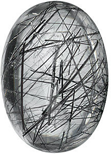 Loose Genuine  Tourmalinated Quartz Gemstone, Oval Shape Cabochon, Grade AAA, 16.00 x 12.00 mm in Size, 10.5 Carats