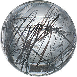 Natural  Tourmalinated Quartz Gemstone, Round Shape Cabochon, Grade AAA, 6.00 mm in Size, 1 Carats