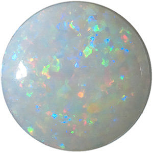 Loose  White Fire Opal Gemstone, Round Shape Cabochon, Grade AAA, 8.00 mm in Size, 1.09 carats
