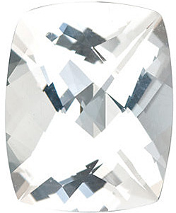 Faceted   White Topaz Stone, Antique Cushion Shape, Grade AAA, 8.00 x 6.00 mm in Size
