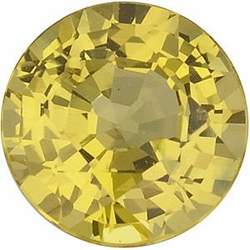 Loose Genuine Gem  Yellow Sapphire Stone, Round Shape, Grade AA, 4.00 mm in Size, 0.13 Carats