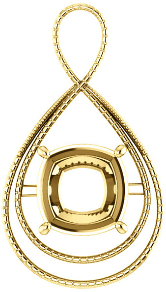 Bypass Accented Pendant Mounting for Cushion Centergem Sized 5.00 mm to 15.00 mm - Customize Metal, Accents or Gem Type