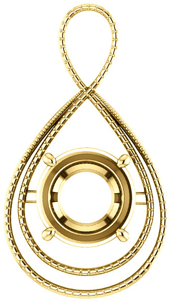 Bypass Accented Pendant Mounting for Round Centergem Sized 4.10 mm to 15.00 mm - Customize Metal, Accents or Gem Type