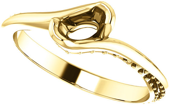 Bypass Style Engagement Ring With Accents for Oval Shape Centergem Sized 6.00 x 4.00 mm to 10.00 x 8.00 mm - Customize Metal, Accents or Gem Type