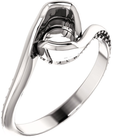 Bypass Style Engagement Ring With Accents for Round Shape Centergem Sized 4.10 mm to 9.40 mm - Customize Metal, Accents or Gem Type