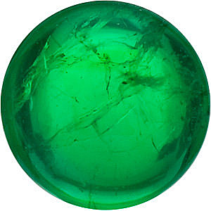 Cabochon Cut Round Genuine Emerald in Grade AAA