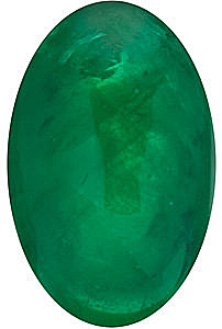 Cabochon Oval Genuine Emerald in Grade AAA