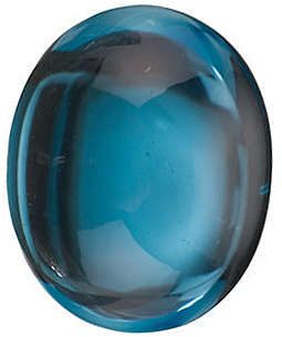 Cabochon Oval Genuine London Blue Topaz in Grade AAA