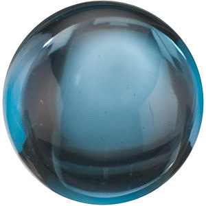 Cabochon Round Genuine London Blue Topaz in Grade AAA