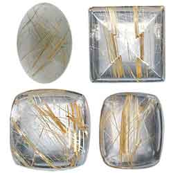 CABOCHON RUTILATED  QUARTZ  GEMSTONES
