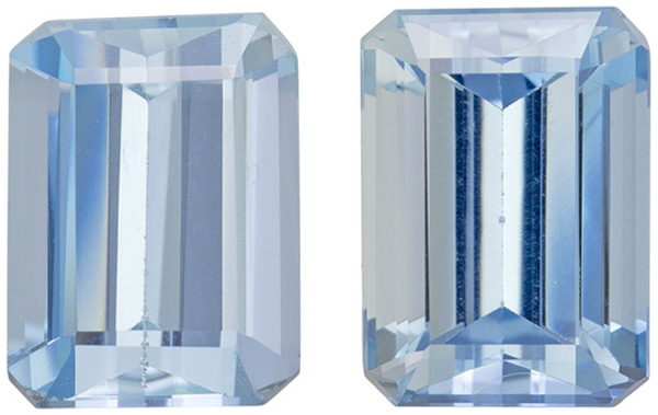 Calibrated Aquamarine Matched Pair in Emerald Cut, Saturated Blue, 8 x 6 mm, 3.08 carats